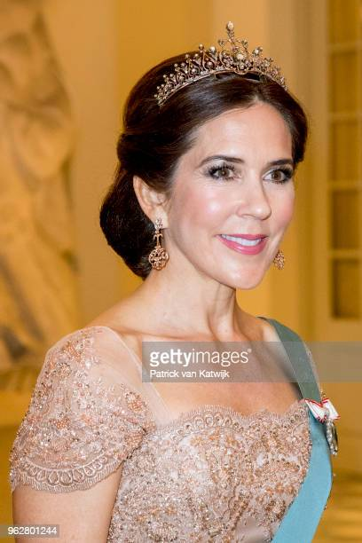 Crown Princess Mary of Denmark during the gala banquet on the occasion of The Crown Prince's 50th birthday at Christiansborg Palace Chapel on May 26...