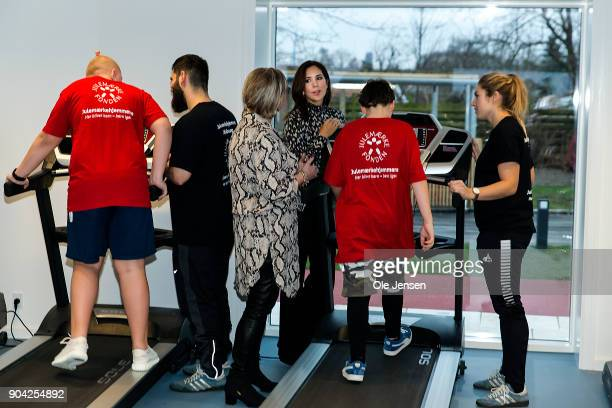 Crown Princess Mary of Denmark in the exercise room during her visit to the Christmas Seal Foundation home opening on January 12 2018 in Roskilde...