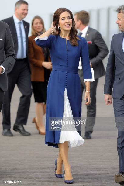 Crown Princess Mary of Denmark is seen at 'La Grande Arche' on day one of the Royal Visit on October 07, 2019 in Paris, France.