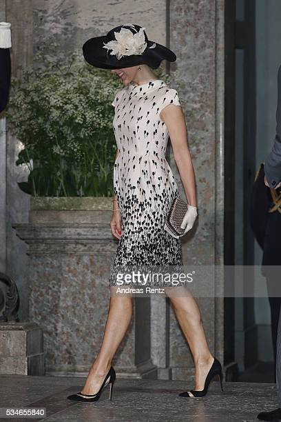 Crown Princess Mary of Denmark is seen at the christening of Prince Oscar of Sweden at Royal Palace of Stockholm on May 27 2016 in Stockholm Sweden