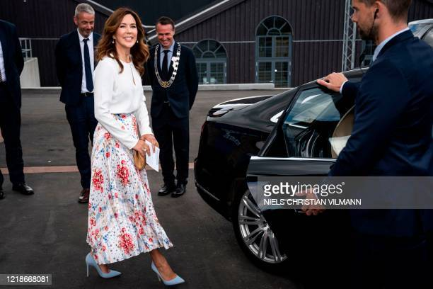 Crown Princess Mary of Denmark is seen attending the opening of the designer museum Holmegaard Vaerk in Naestved some 75km south of the Danish...
