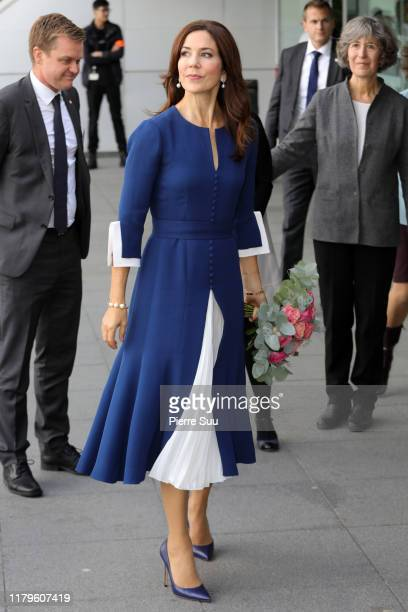 Crown Princess Mary of Denmark is seen during a visit at the European Hospital Georges Pompidou on October 07 2019 in Paris France
