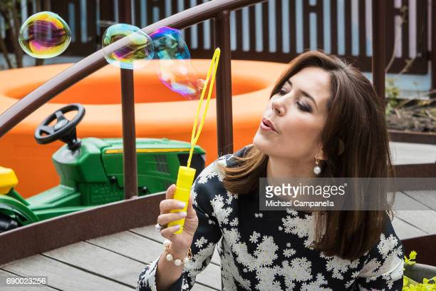 Crown Princess Mary of Denmark is seen during her visit to New Karolinska Solna University Hospital on May 30 2017 in Stockholm Sweden