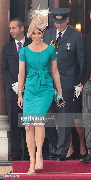 Crown Princess Mary of Denmark is seen leaving the Hotol de Paris to attend the religious ceremony of the Royal Wedding of Prince Albert II of Monaco...