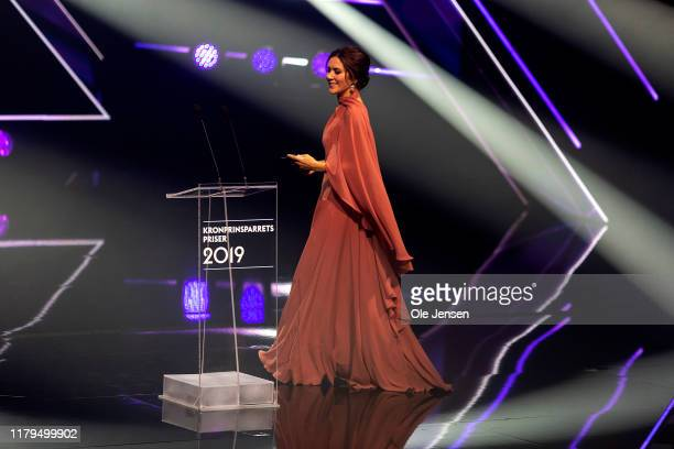Crown Princess Mary of Denmark is seen on stage during the Crown Prince Couples Price Award Show on November 2, 2019 in Odense, Denmark. The Crown...