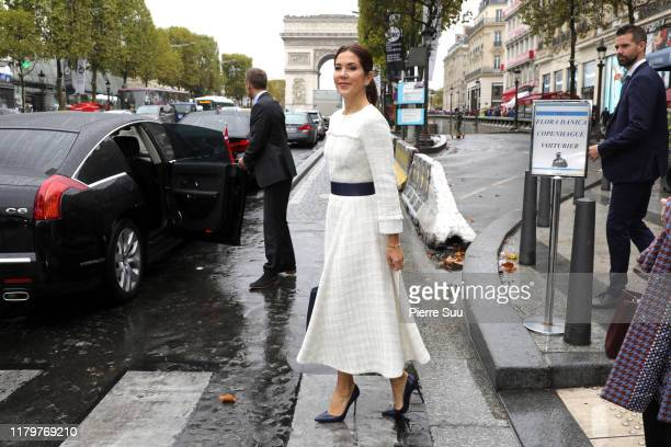 Crown Princess Mary of Denmark is seen on the Champs Elysees on October 08 2019 in Paris France