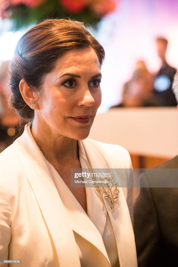 Crown Princess Mary Of Denmark is seen visiting the Designlounge on May 29, 2017 in Stockholm, Sweden.