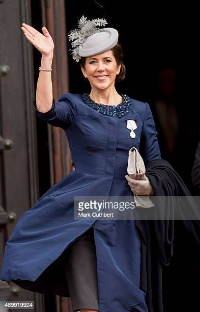 Crown Princess Mary of Denmark leaves the Town Hall after lunch during festivities for the 75th birthday of Queen Margrethe II Of Denmark on April...
