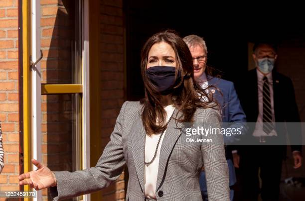 Crown Princess Mary Of Denmark leaves UNFPA's State Of World Population Report Release at Gerlev Sports High School on April 22, 2021 in Slagelse,...