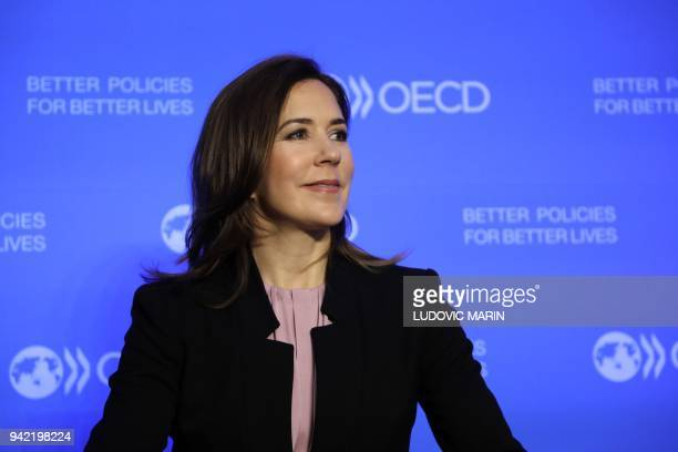 Crown princess Mary of Denmark looks on during the opening session of the OECD global forum for developpement on April 5 2018 in Paris / AFP PHOTO /...