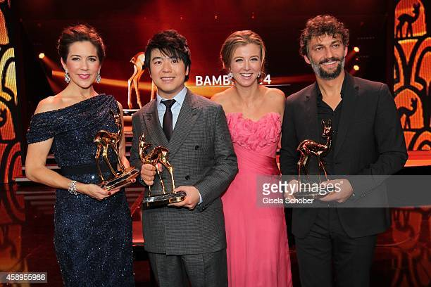 Crown Princess Mary of Denmark, pianist Lang Lang, Nina Eichinger and Jonas Kaufmann during the Bambi Awards 2014 show on November 13, 2014 in...