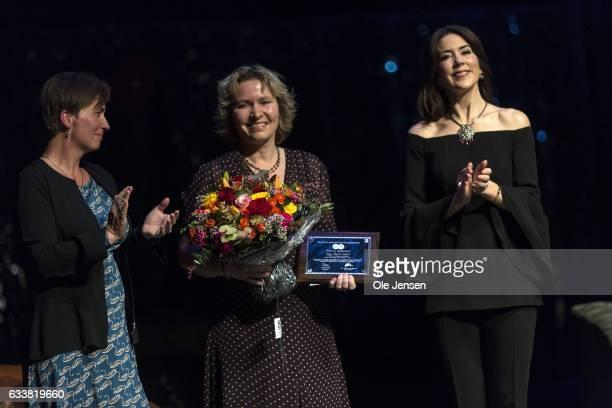 Crown Princess Mary of Denmark presents the Danish Cancer Society's Honorary Award 2017 to Inge Marie Svane on February 4 2017 in Copenhagen Denmark...