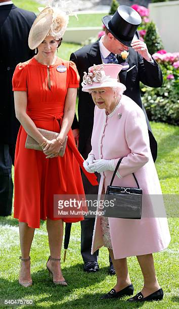 Crown Princess Mary of Denmark Prince Edward Earl of Wessex and Queen Elizabeth II attend day 2 of Royal Ascot at Ascot Racecourse on June 15 2016 in...