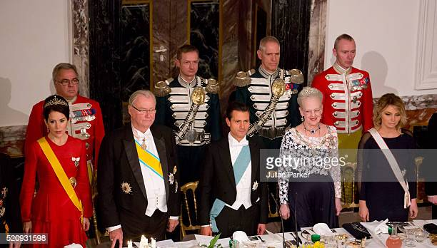 Crown Princess Mary of Denmark Prince Henrik of Denmark President Enrique Pena Nieto Queen Margrethe of Denmark and the Presidents wife Angelica...