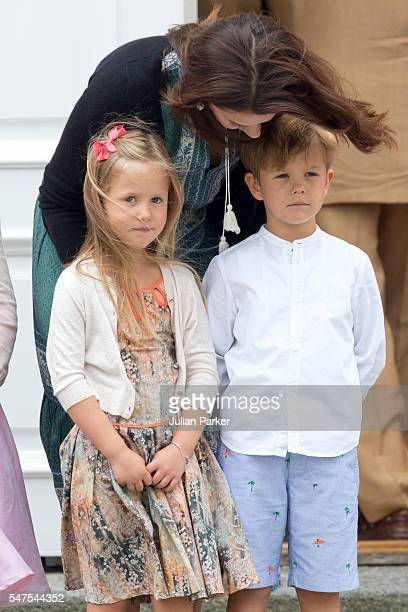 Crown Princess Mary of Denmark Princess Josephine and Prince Vincent of Denmark attend the annual summer photo call for The Danish Royal Family at...