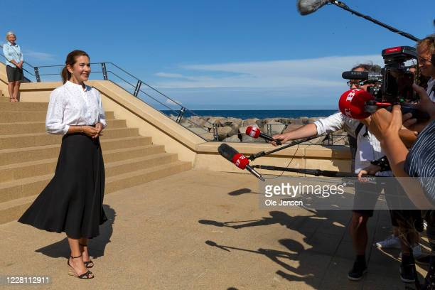 Crown Princess Mary of Denmark seen at a press briefing at Grenaa sea aquarium, Kattegatcentret,after she as newly appointed President for the World...