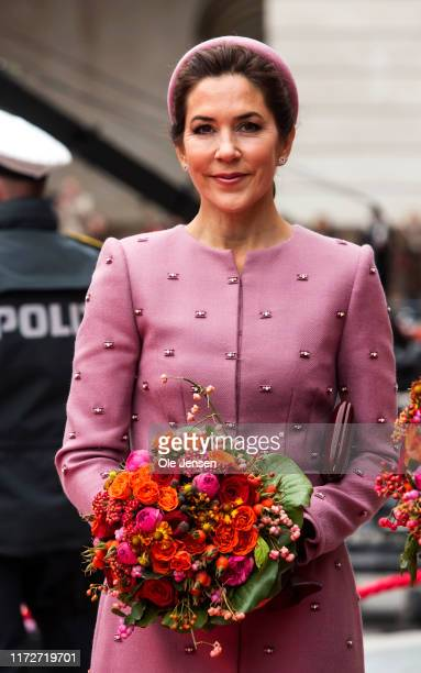 Crown Princess Mary of Denmark seen at arrival to the Danish Parliament on October 1, 2019 in Copenhagen, Denmark. In keeping with tradition, the...