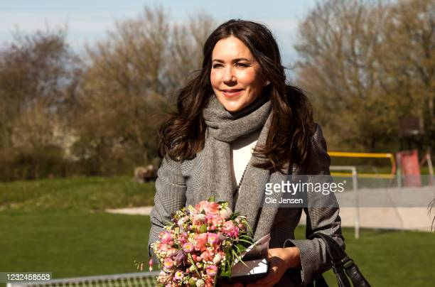 Crown Princess Mary Of Denmark seen at the UNFPA State Of World Population Report Release at Gerlev Sports High School on April 22, 2021 in Slagelse,...