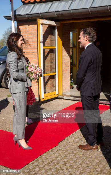 Crown Princess Mary Of Denmark seen speaking to Ib Petersen, UN Assistant Secretary-General, during arrival to UNFPA's State Of World Population...