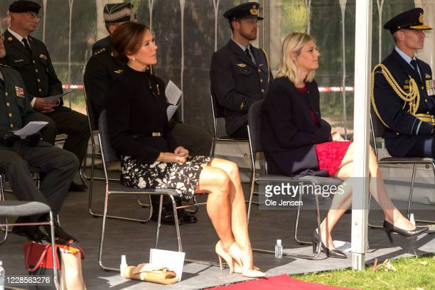 Crown Princess Mary of Denmark seen the official inauguration of the Australian War Monument at the Churchill Memorial Park on September 17, 2020 in...