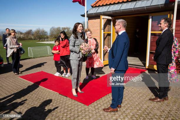 Crown Princess Mary Of Denmark seen together with Flemming Møller Mortensen, Minister for Development Cooperation and Ib Petersen, UN Assistant...