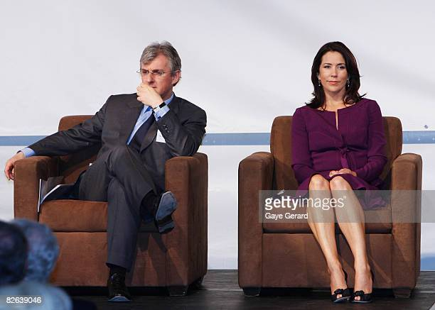 Crown Princess Mary of Denmark sits onstage as she opens the new Victor Chang Lowy Packer Building at St Vincent's Hospital Darlinghurst on September...