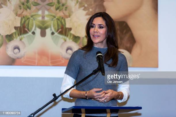 Crown Princess Mary of Denmark speaks at Hoeng Continuation School on November 5 2019 in Hong Denmark Hoeng Continuation School is an independent...