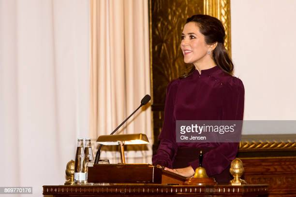 Crown Princess Mary of Denmark speaks at the presentation of the Christmas Seal 2017 at the City Hall on November 3 2017 in Copenhagen Denmark The...