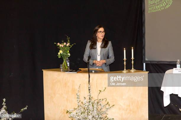 Crown Princess Mary Of Denmark speaks at the UNFPA State Of World Population Report Release at Gerlev Sports High School on April 22, 2021 in...