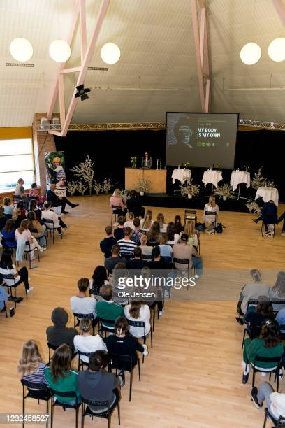 Crown Princess Mary Of Denmark speaks at UNFPA's State Of World Population Report Release at Gerlev Sports High School on April 22, 2021 in Slagelse,...