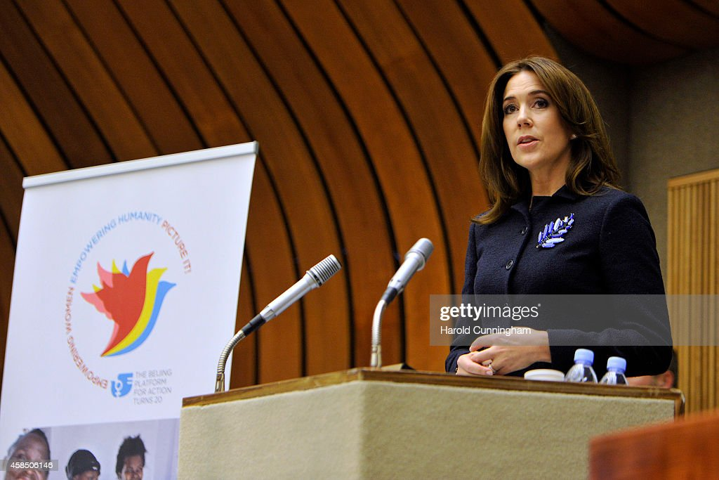 Crown Princess Mary of Denmark speaks during the regional review meeting of the status of women in the UNECE region 20 years after the Beijing platform for action held at the United Nations Office at Geneva on November 6, 2014 in Geneva, Switzerland.