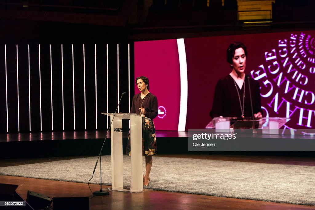 Crown Princess Mary of Denmark speaks on stage about sustainability in the fashion industry during Copenhagen Fashion Summit on May 11, 2017 in Copenhagen, Denmark. The 2017 Summit addressed four specific paths to sustainability: the macro perspective, circular design, supply chain transparency and sustainable consumption. All four paths pertained to topics that are of particular opportunity, as uncovered in the 'Pulse of the Fashion Industry' report, jointly researched and produced by the Global Fashion Agenda and the Boston Consulting Group and presented at the Summit, which had some 1000 participants from the global fashion industry.