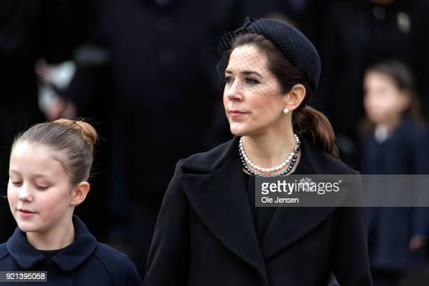 Crown Princess Mary of Denmark together with daughter Princess Josephine depart from the funeral for Prince Henrik at the Parliament Palace Church on...