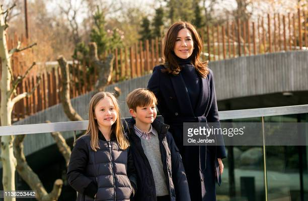 Crown Princess Mary of Denmark together with her twins Prince Vincent and Princess Josephine takes a morning walk in Copenhagen Zoo as the zoo opens...