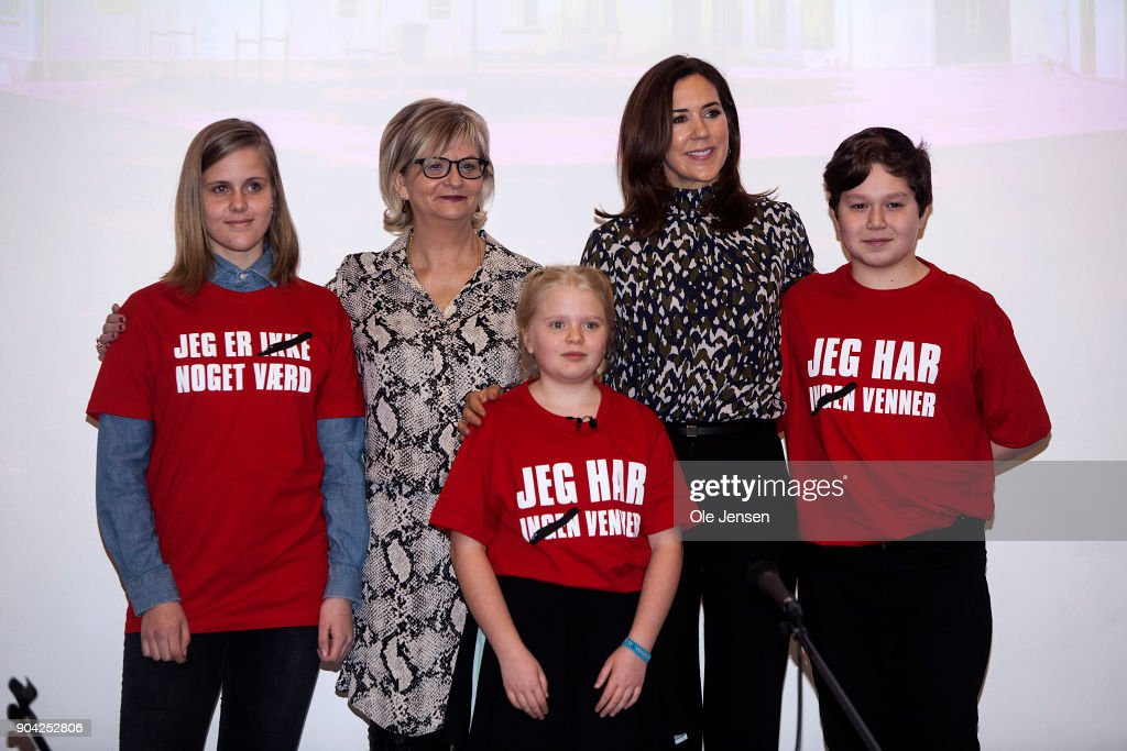 Crown Princess Mary of Denmark together with Managing Directpr Winnie Liljeborg of the Christmas Seal Foundation and children during the The Christmas Seal Foundation's home opening on January 12, 2018 in Roskilde, Denmark. The Crown Princess is the patron of the Christmas Seal Foundation where labels are placed on mail during the festive period to help raise money for underprivileged children, through the sale of the annual Christmas Seal. Children suffering from psychological issues are then able to stay in one of the six homes in Denmark, for a period of up to 10 weeks to help them rehabilitate. The text on the childrens T-shirts reads: : 'I am worth nothing' - but with a cross over *nothing'