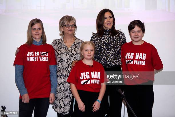 Crown Princess Mary of Denmark together with Managing Directpr Winnie Liljeborg of the Christmas Seal Foundation and children during the The...