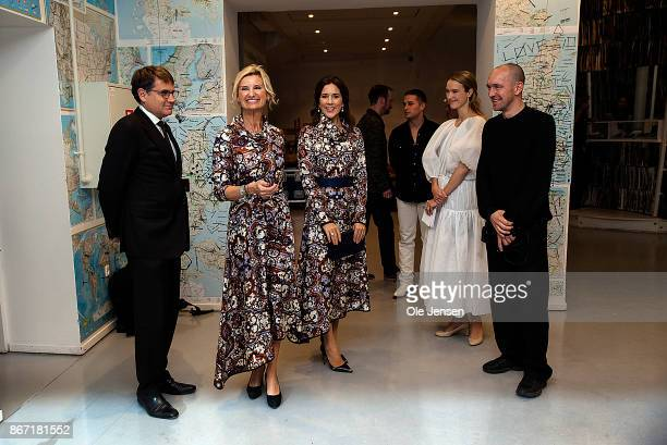 Crown Princess Mary of Denmark together with Nina WedellWedellsborg board member at the Magasin du Nord Foundation and Brian Mikkelsen Minister of...