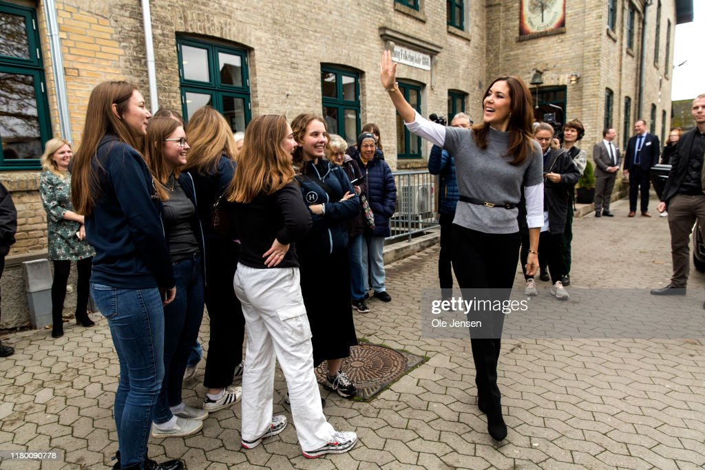 Crown Princess Mary And The Mary Foundation Visit Boarding School In Denmark : News Photo