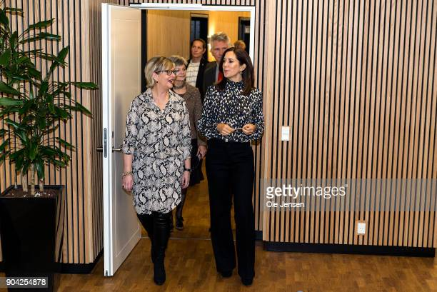 Crown Princess Mary of Denmark together with Winnie Lijleborg Director of the Christmas Seal Foundation during the Princess visit at the Foundation's...