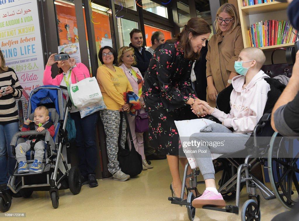 Crown Princess Mary and Crown Prince Frederik Of Denmark Visit 'Bambin Gesu' Pediatric Hospital : News Photo