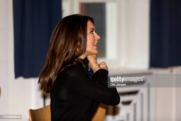 Crown Princess Mary of Denmark visits Roskilde Gymnasium on November 18, 2020 in Roskilde, Denmark. The school is participating in UNESCO Associated...