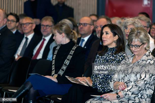 Crown Princess Mary of Denmark visits the Christmas Seal Foundation home opening on January 12 2018 in Roskilde Denmark The Crown Princess is the...