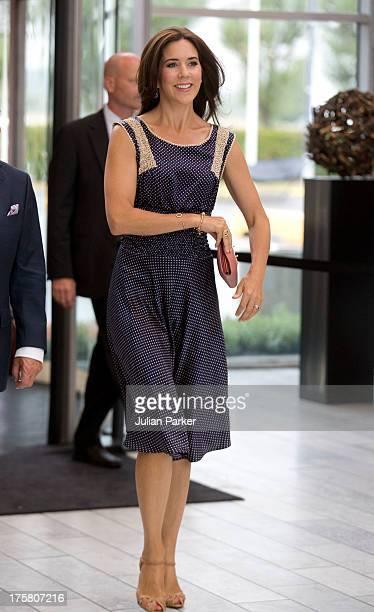Crown Princess Mary of Denmark visits the Copenhagen International Fashion Fair at the Bella Center on August 8 2013 in Copenhagen Denmark