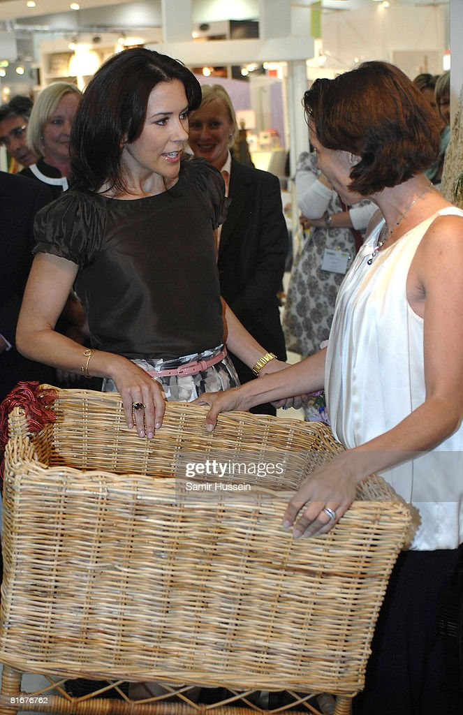 Crown Princess Mary of Denmark visits the Danish Federation of Small-and Medium-sized Enterprises' stand at the home and gift trade show Summer Fair 2008 at the ExCel Centre on June 23, 2008 in London, England.