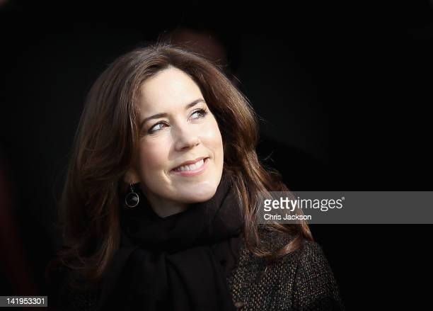 Crown Princess Mary of Denmark visits the set of Danish TV Series 'The Killing' on March 27, 2012 in Copenhagen, Denmark. Camilla, Duchess of...