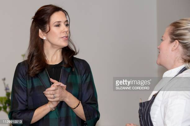 Crown Princess Mary of Denmark visits The SXSW House of Scandanavia to meet with Chef Kamilla Seidler on March 11 2019 in Austin Texas
