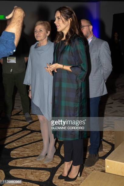 Crown Princess Mary of Denmark visits the SXSW SEMEION Danish Art Installation by Circus Circuit at the JW Marriott Hotel on March 11 2019 in Austin...