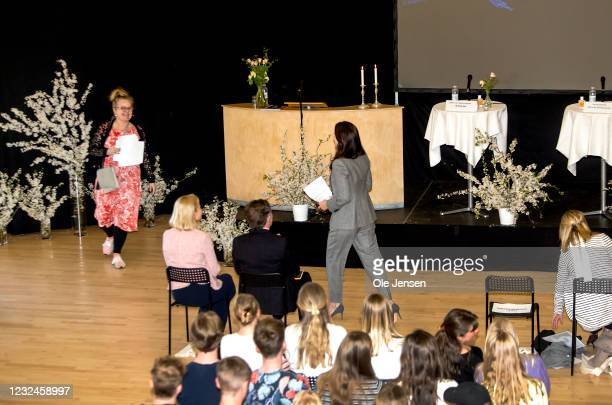Crown Princess Mary Of Denmark walks to the lectern at the UNFPA State Of World Population Report Release at Gerlev Sports High School on April 22,...