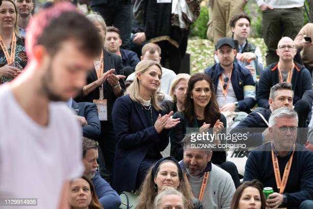 Crown Princess Mary of Denmark watches the band Lowly perform at the SXSW House of Scandanavia on March 11 2019 in Austin Texas