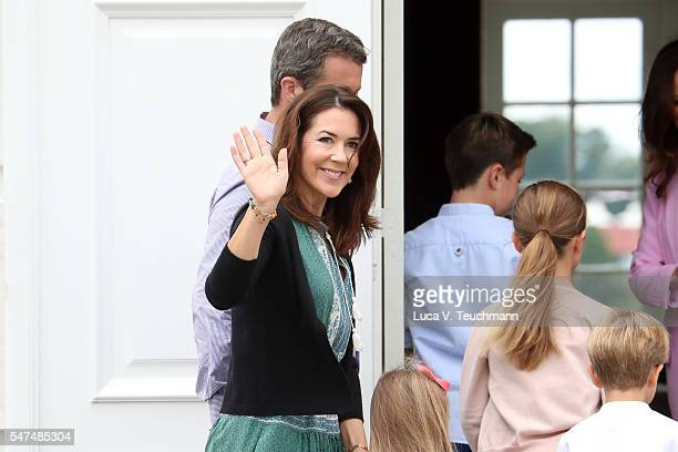 Crown Princess Mary of Denmark waves to the photographers at the annual summer photo call for The Danish Royal Family at Grasten Castle on July 15...